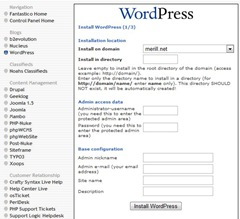 fantastico-wordpress-install